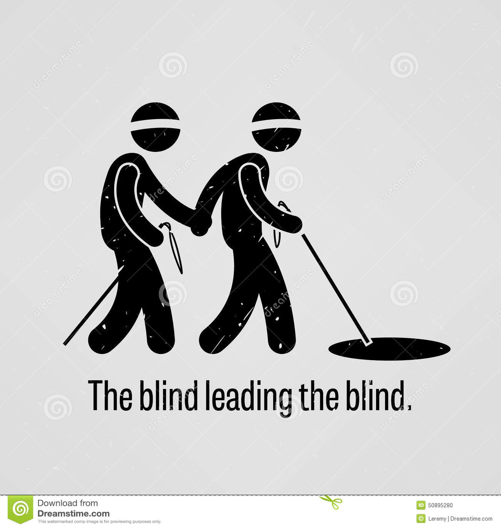 Blinden Leidend Blinden Vector Illustratie Illustratie