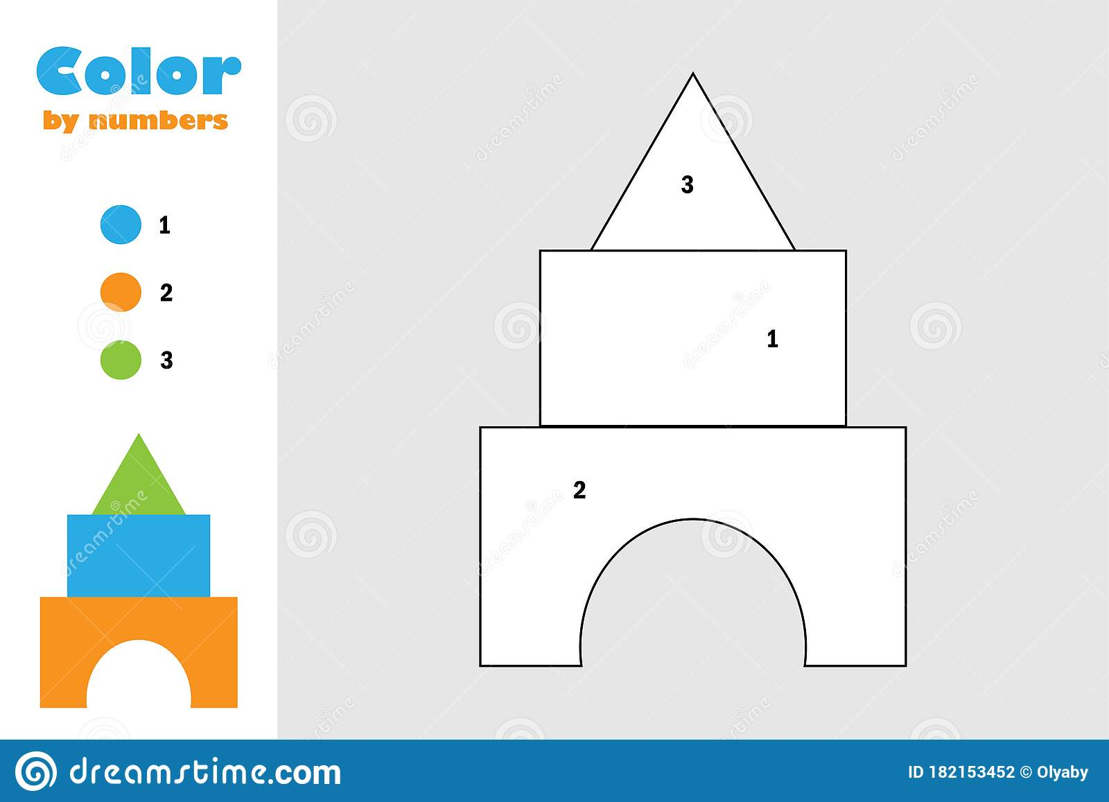 Blocks Toy In Cartoon Style Color By Number Education