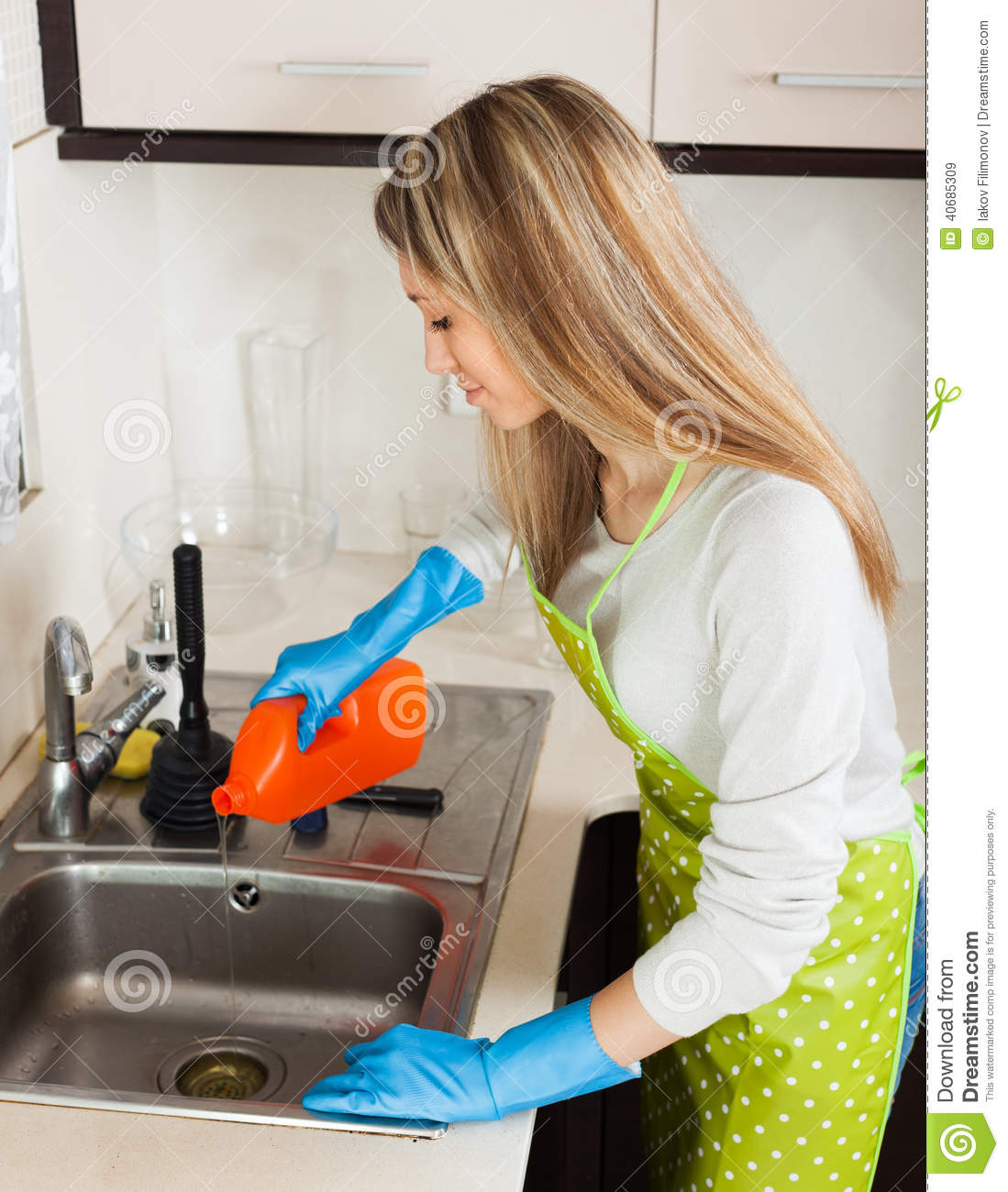 Blonde Woman Cleaning Pipe With Detergent Stock Photo Image 40685309