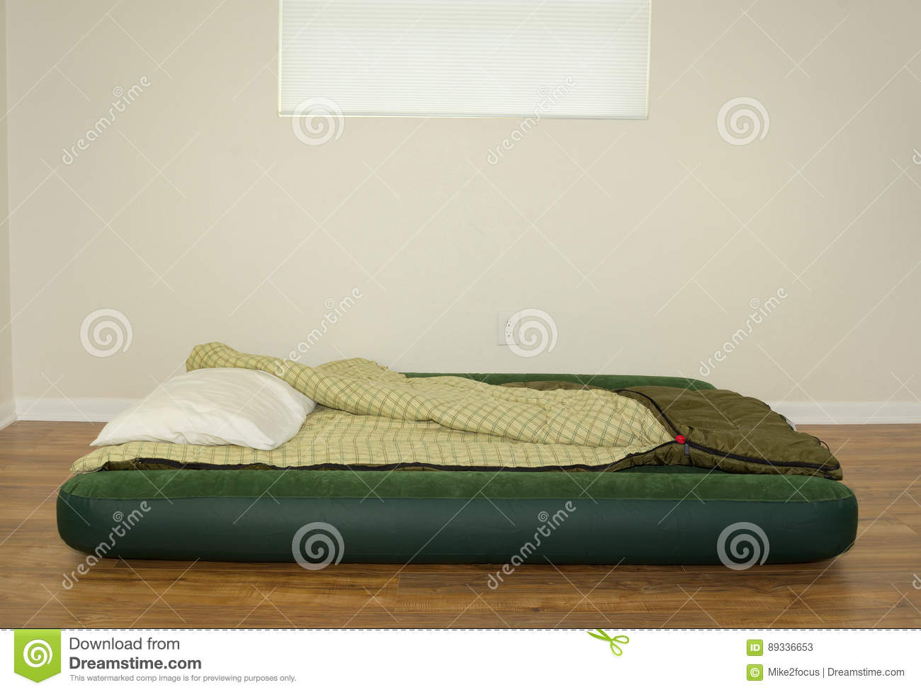blow up air mattress bed with sleeping bag and pillow stock image image of accommodation living 89336653