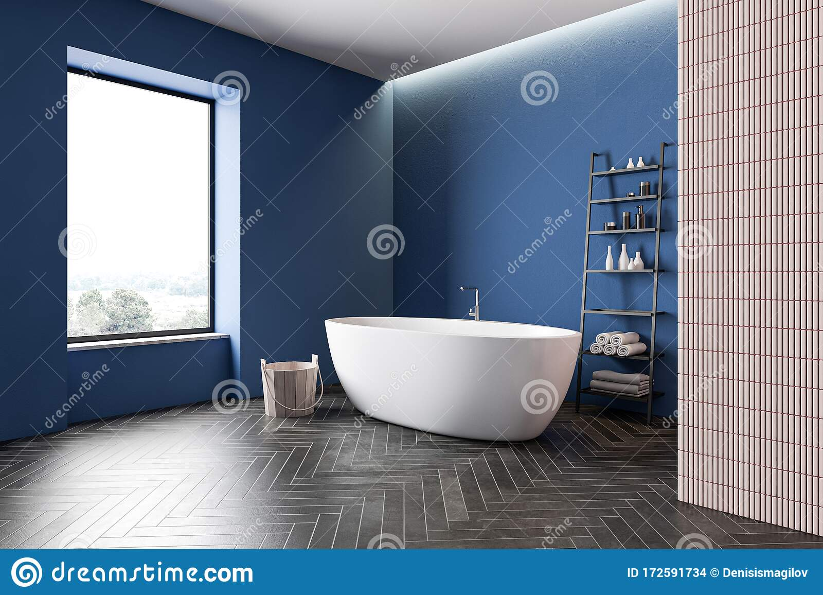 https www dreamstime com blue beige bathroom corner tub spa pink tile walls black wooden floor comfortable bathtub bucket shelves towels beauty image172591734