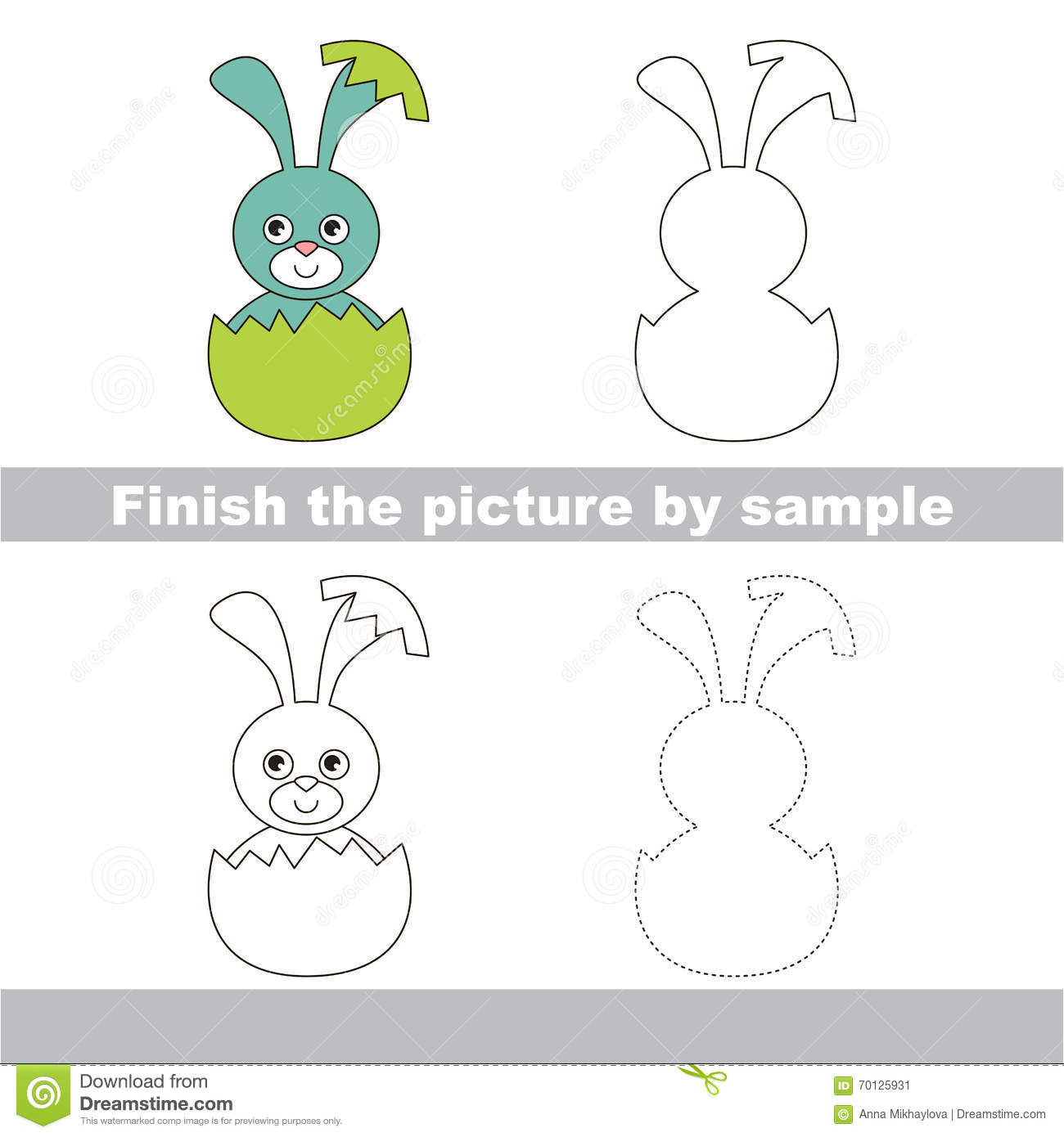 Blue Bunny In Eggshell Drawing Worksheet Stock Vector