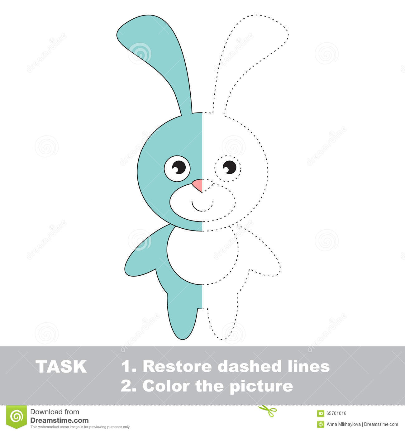 Blue Bunny To Be Colored Vector Trace Game Stock Vector