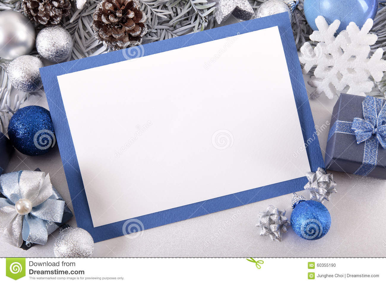 Blue Christmas Card Background With Decorations And Copy