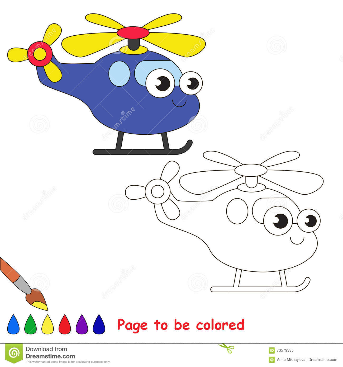 Blue Helicopter Cartoon Page To Be Colored Stock