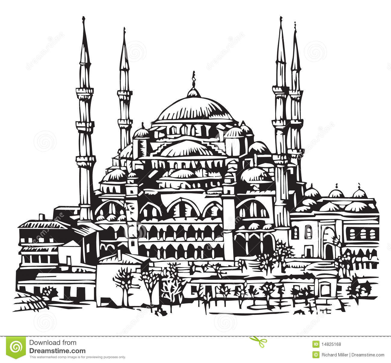 Blue Mosque Istanbul Illustration Royalty Free Stock