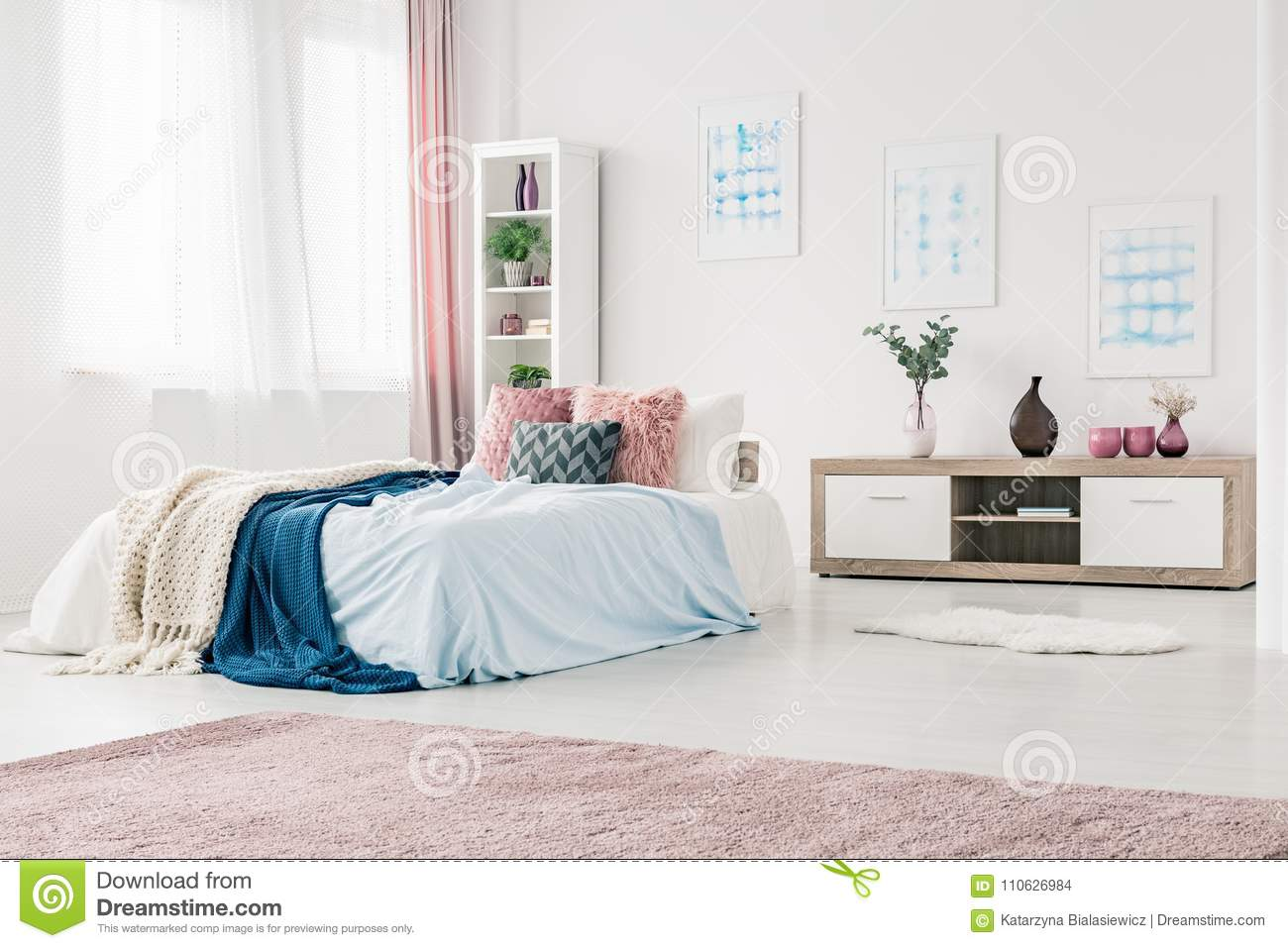 Blue And Pink Bedroom Interior Stock Photo Image Of Blue White 110626984