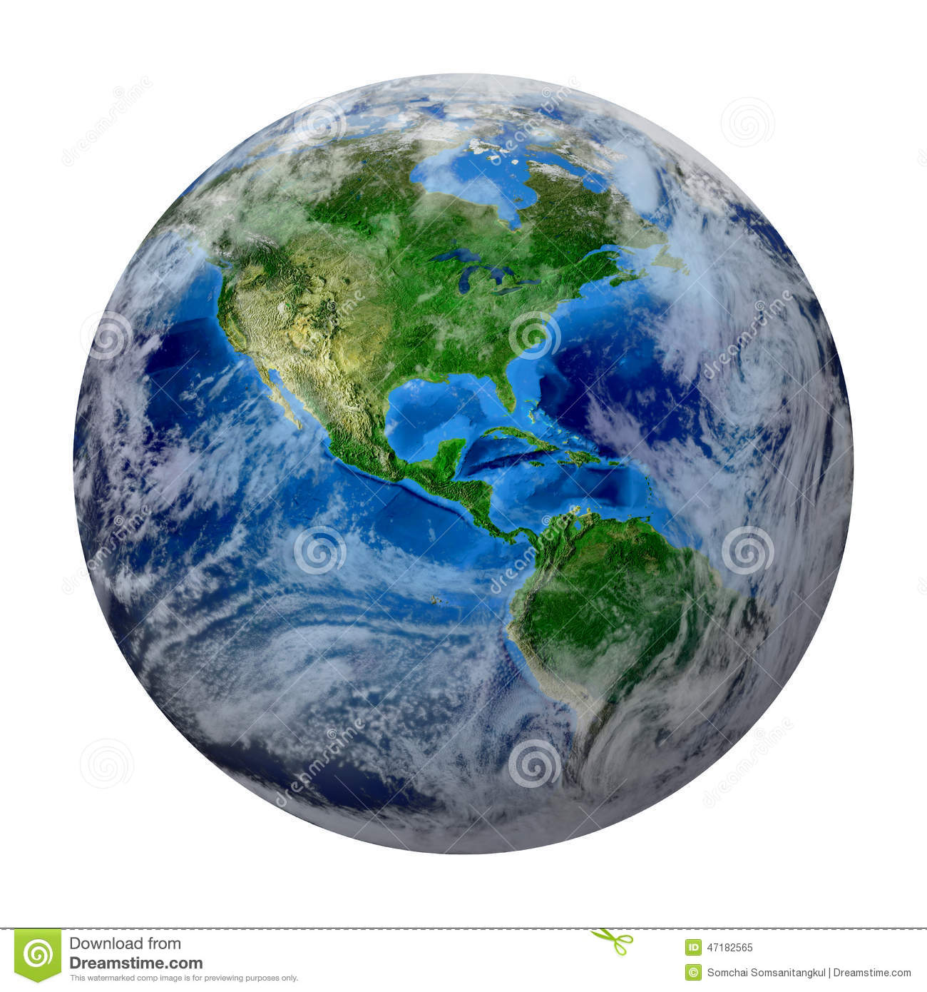 Blue Planet Earth With Clouds America Usa Path Of Global