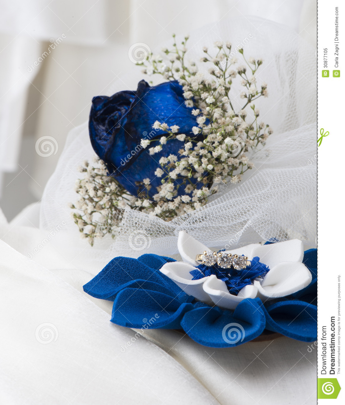 A Blue Roses And Wedding Rings Royalty Free Stock Photo Image 30877105