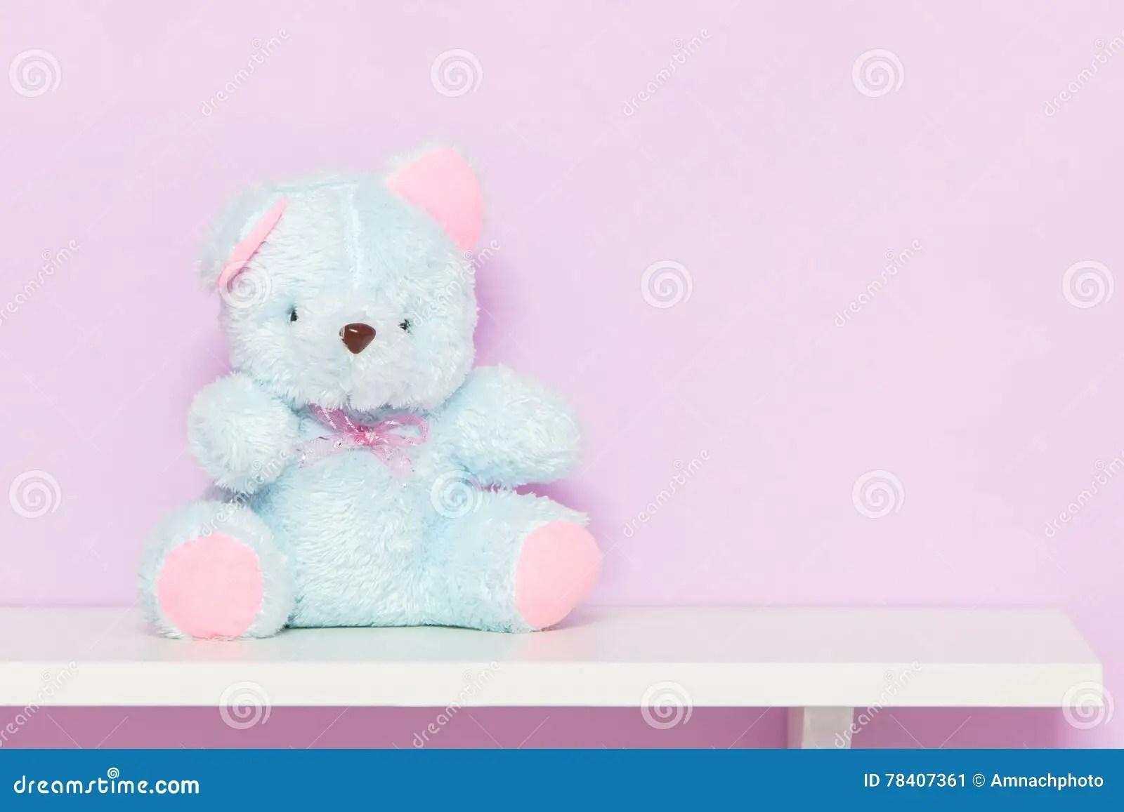 Blue Teddy Bear On Shelf Stock Image Image Of T