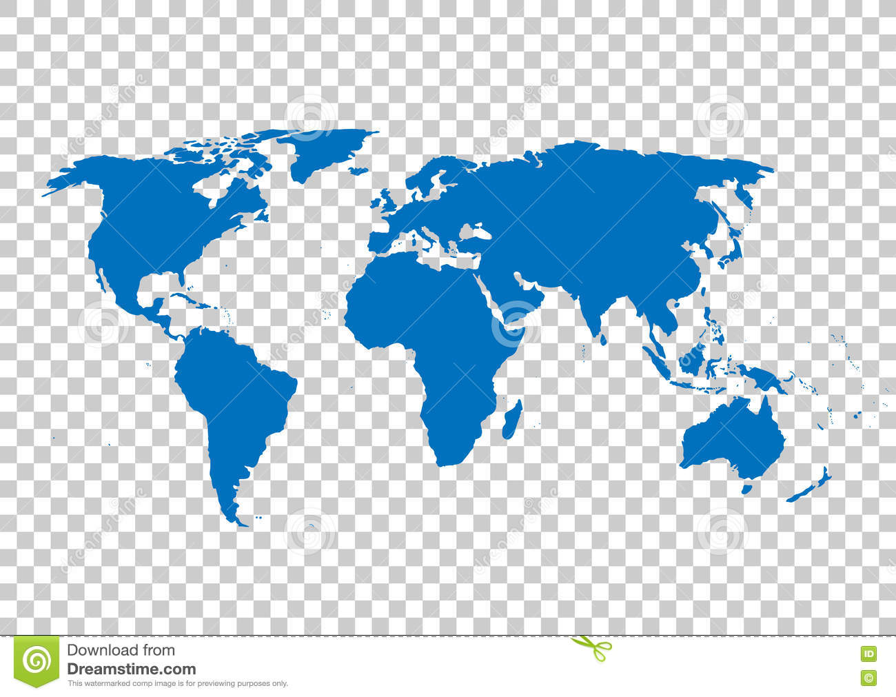 Blue Vector Map World Map Blank World Map Template Map On The Background Of The Grid