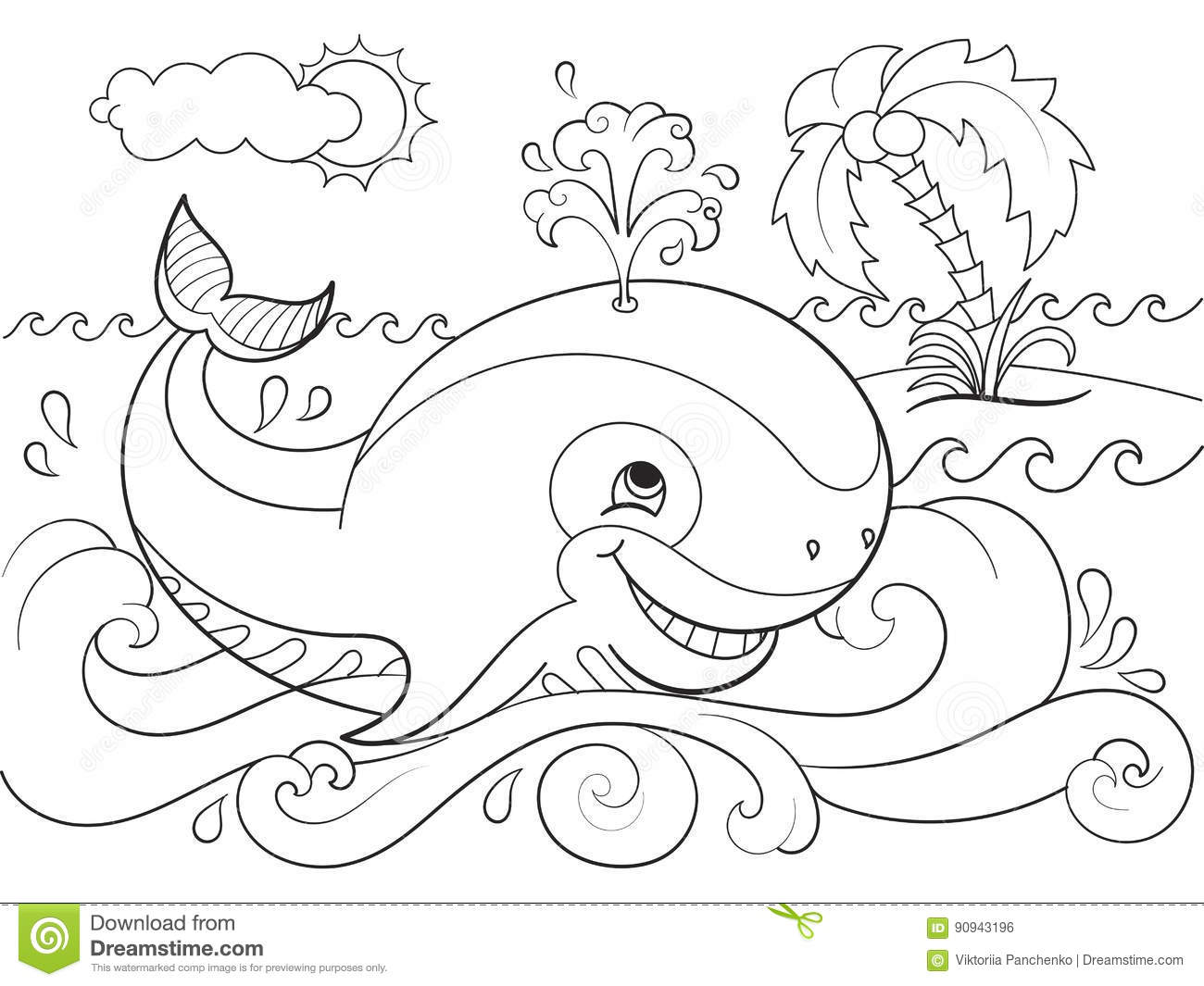 Blue Whale On A Background Of Ocean Coloring For Children