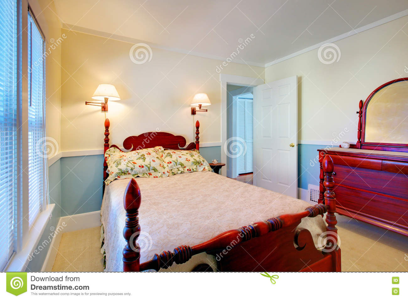 Blue And White Bedroom Interior With High Pole Carved Wood Bed Stock Image Image Of Inside Carved 73268513