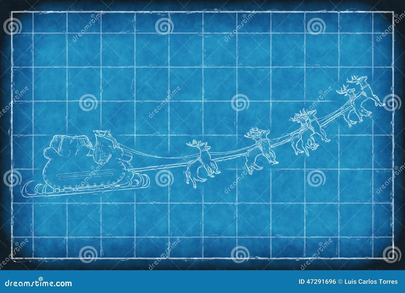 Blueprint Santa Claus Sleight Stock Photo Image 47291696