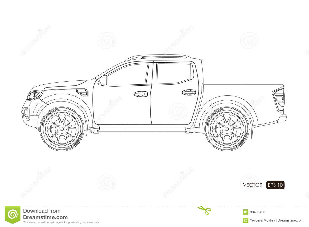Blueprint Of Suv Contour Drawing Of Car On A White