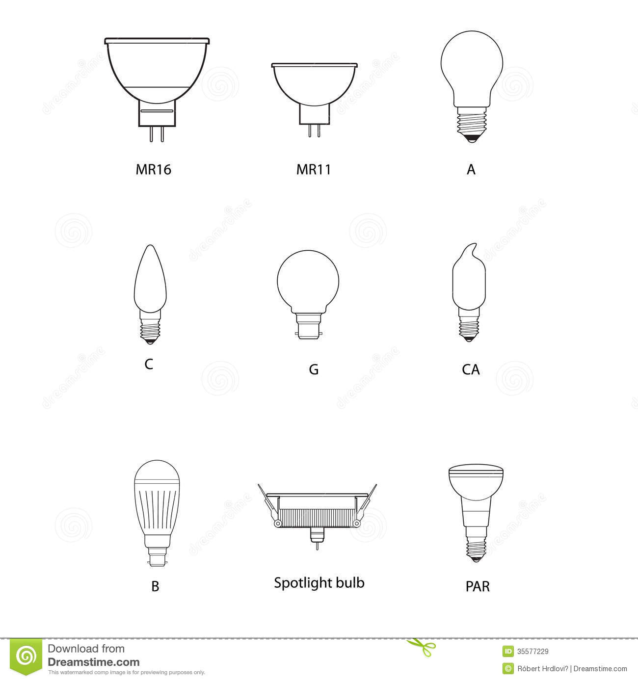 Blueprint Technical Draw Of Different Bulb Socket Royalty