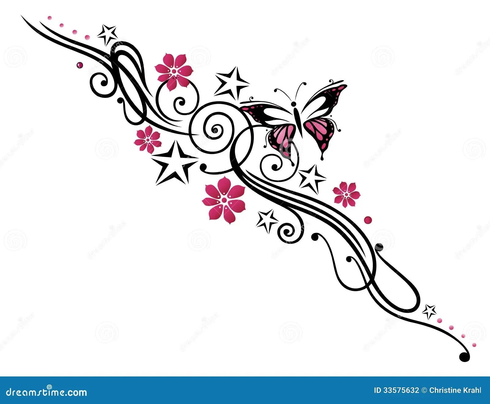 Blumen Schmetterling Ranke Vektor Abbildung Bild 33575632