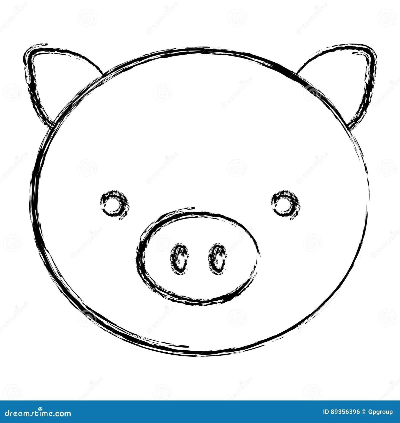 Silhouette A Cute Pig