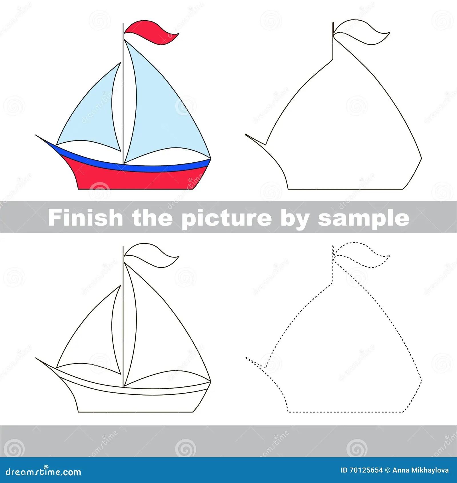 Boat Drawing Worksheet Stock Vector