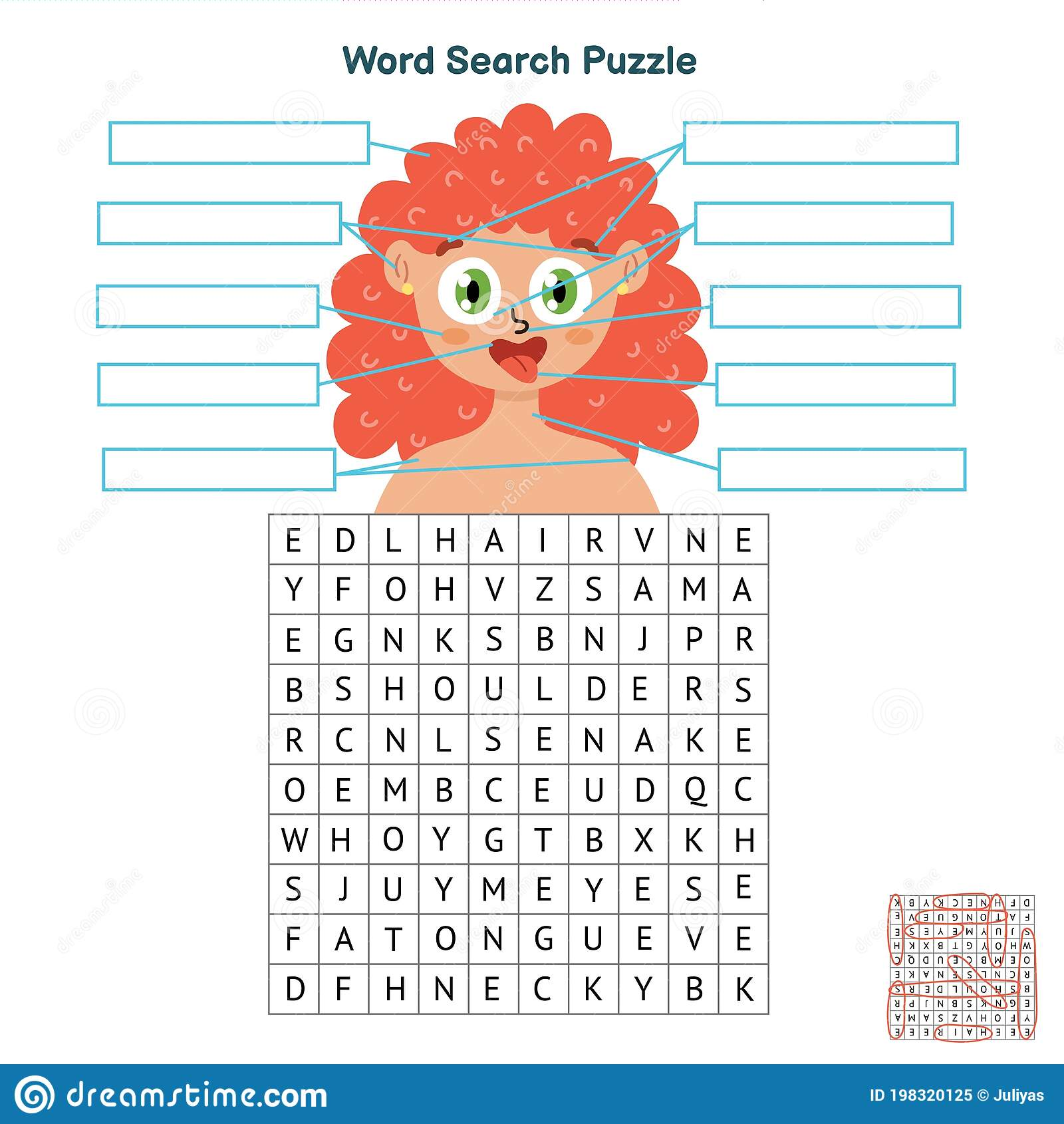 Body Parts Word Search Puzzle Educational Game For Kids