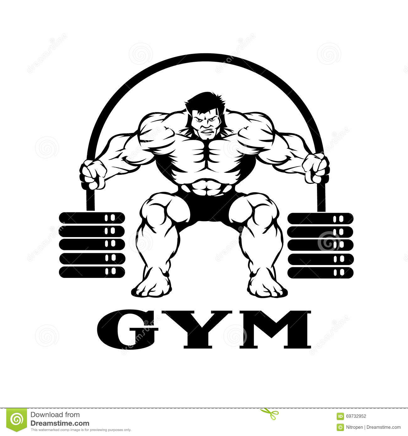 Bodybuilder With Barbell Stock Vector Illustration Of