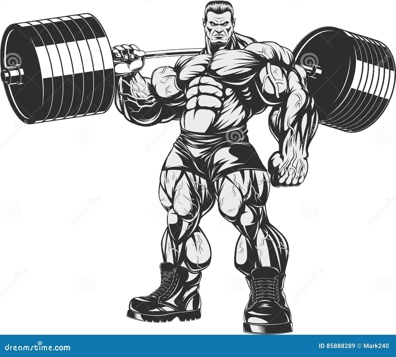 Bodybuilder With Barbell Cartoon Vector