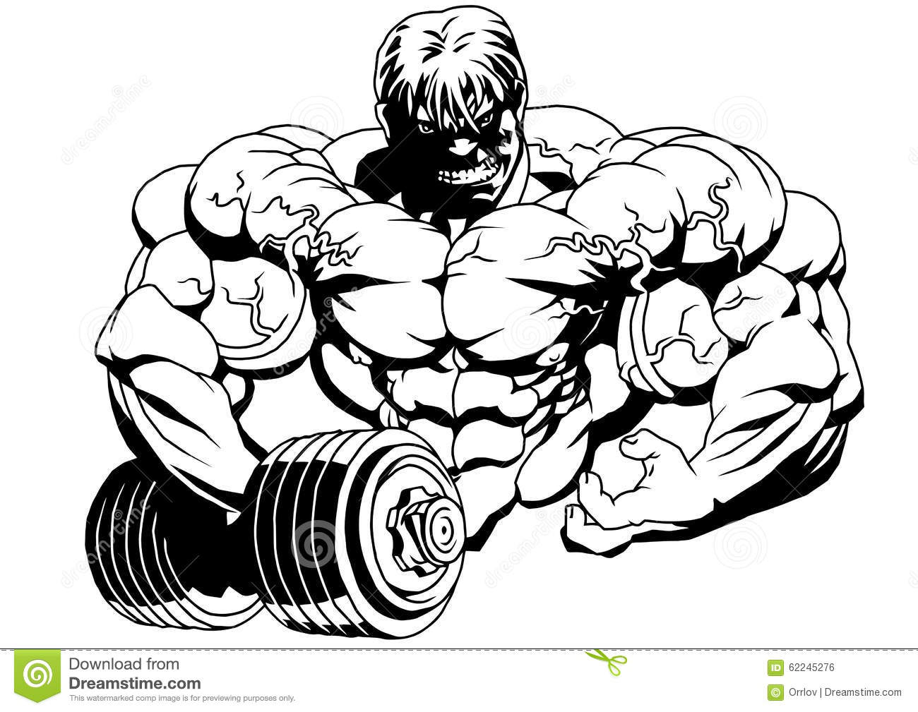 Bodybuilder With Dumbbells Stock Vector Illustration Of