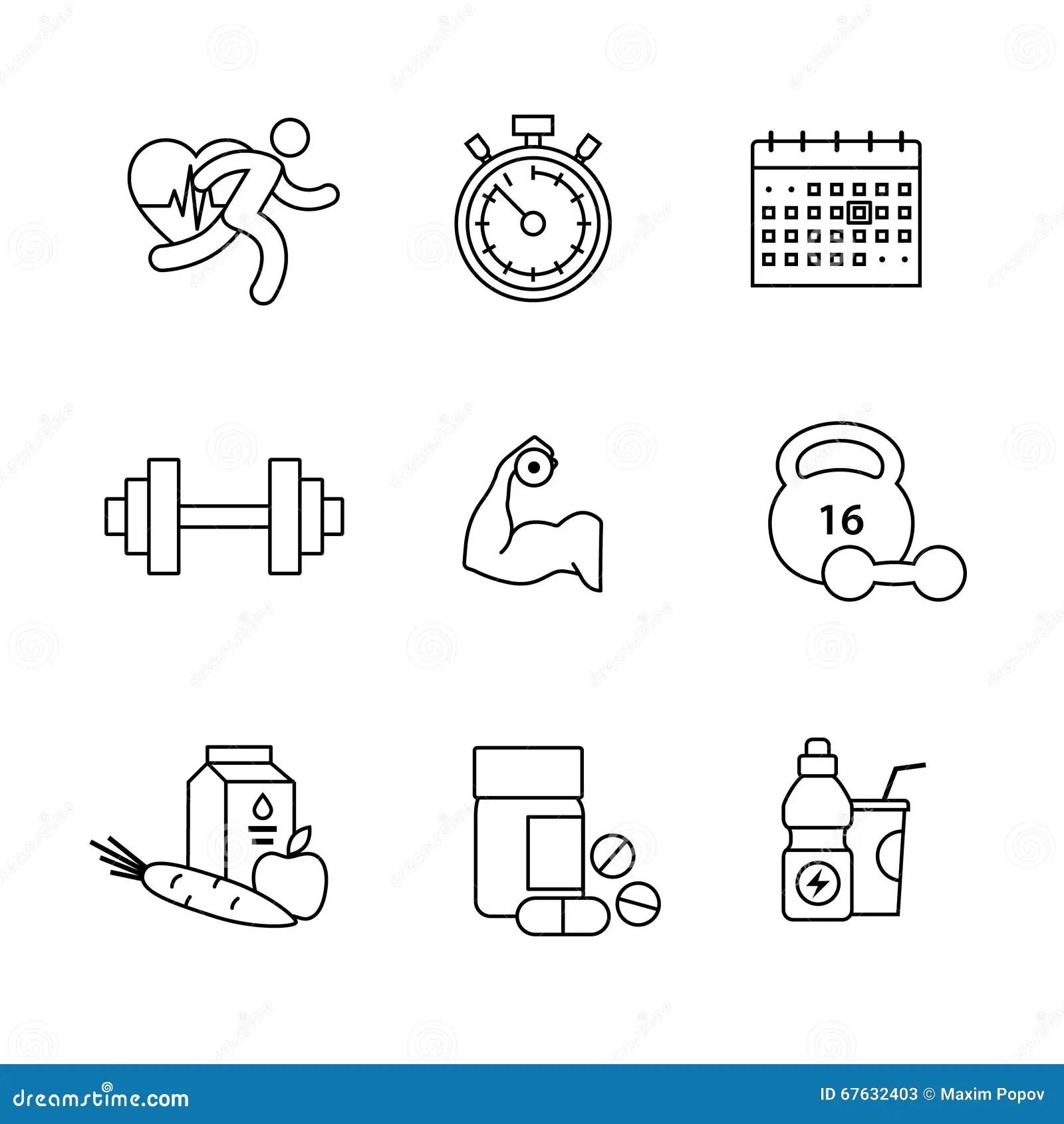Bodybuilder Fitness Thin Line Art Icons Set Stock Vector