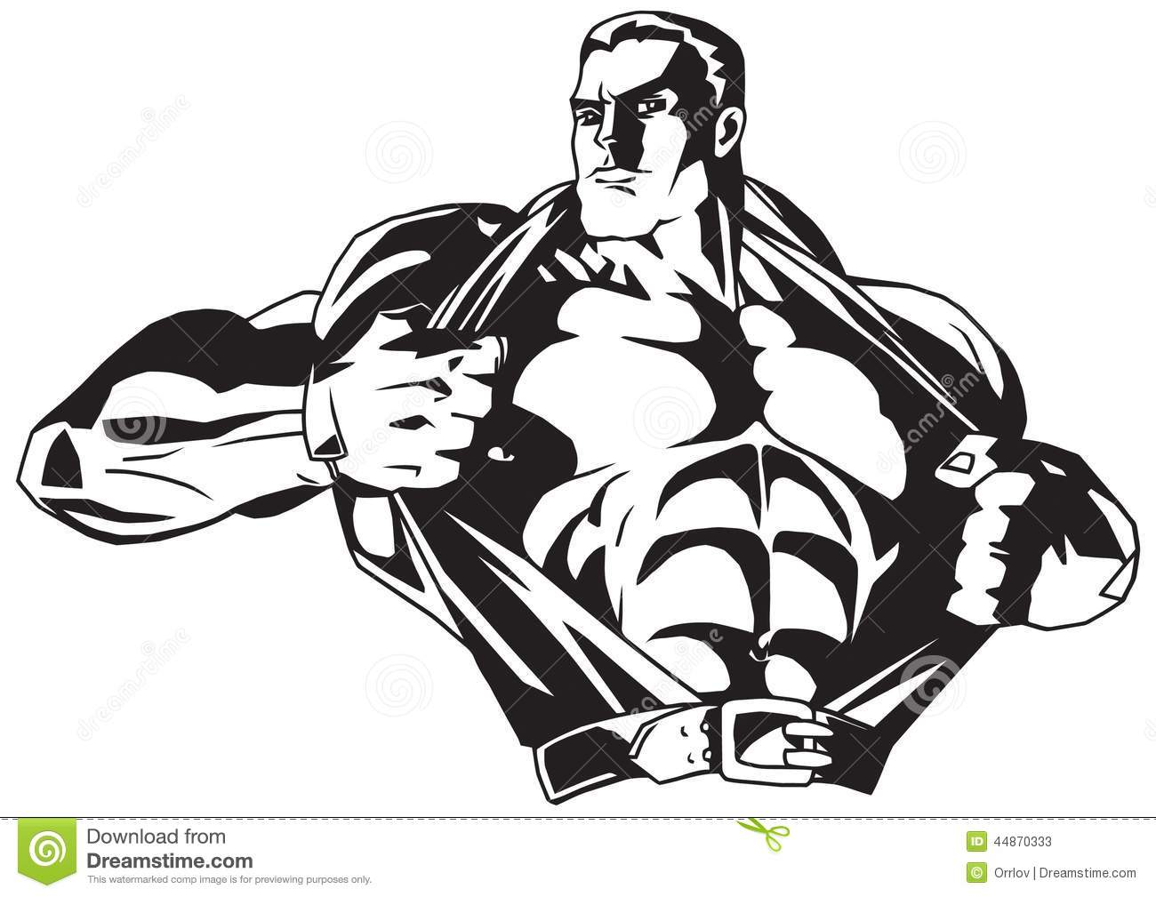 Bodybuilder Rips Shirt On The Chest Stock Vector