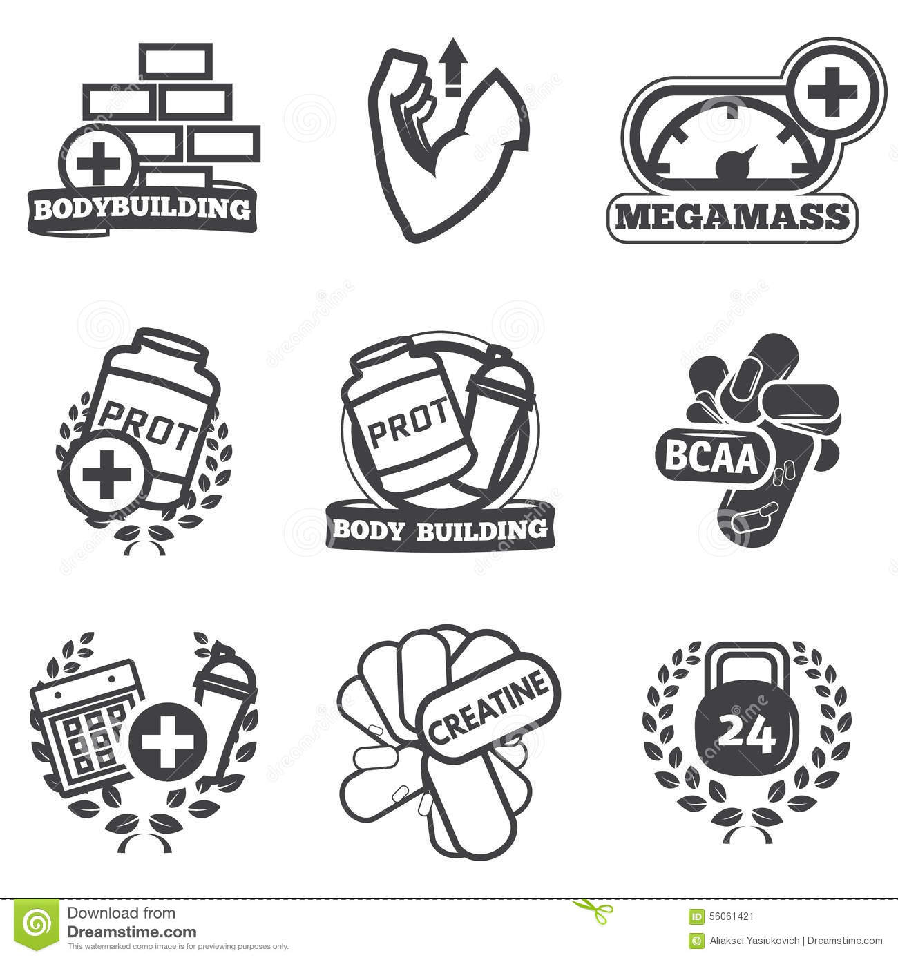 Bodybuilding And Powerlifting Concept Icon Set Vector