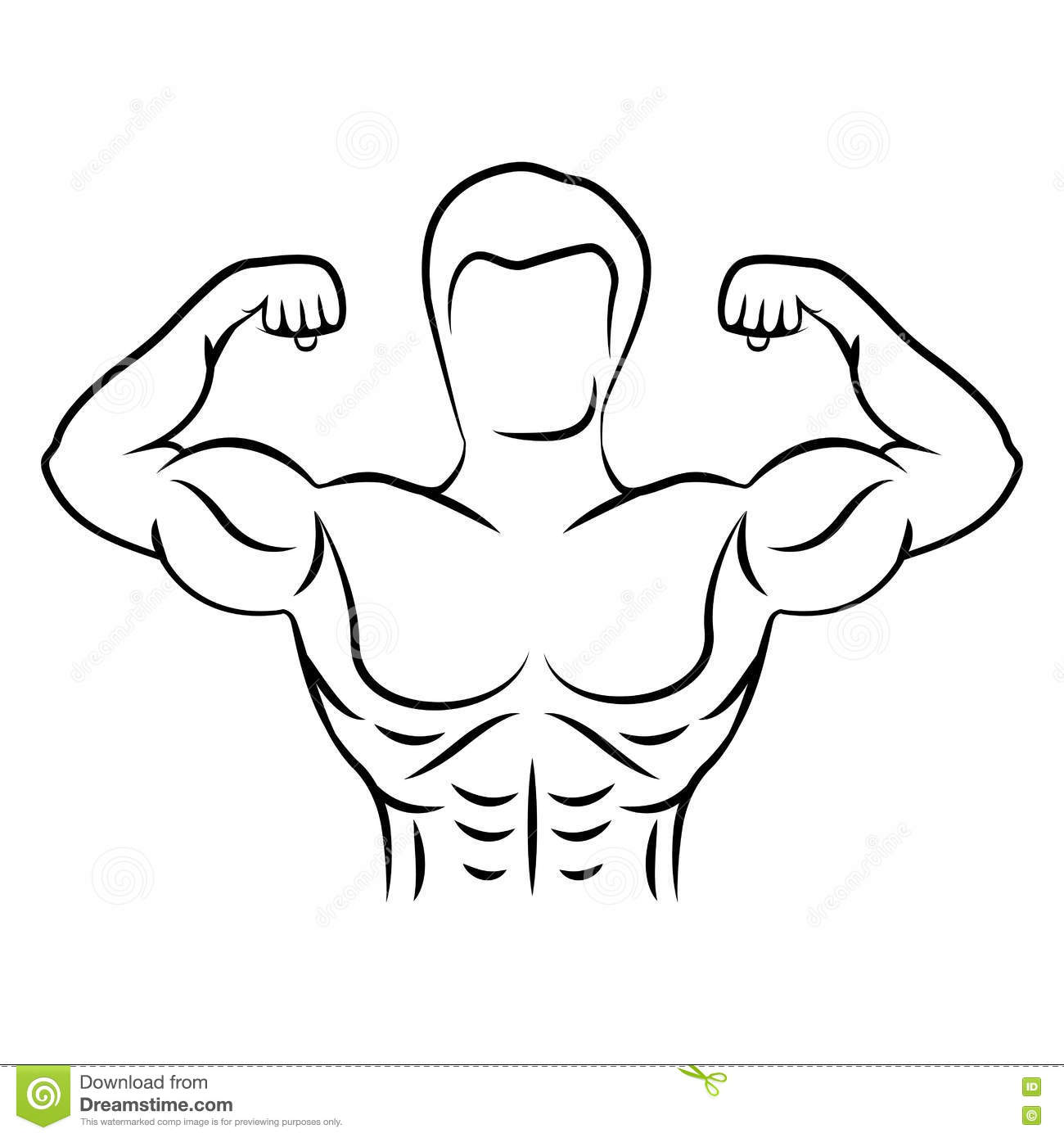 Muscle Man Figure Front View Stock Photo