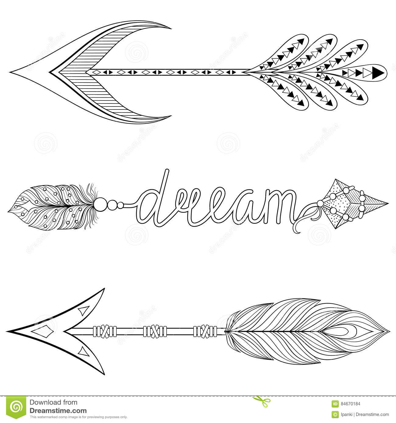 Bohemian Dream Arrows Set With Feathers For Adult Coloring