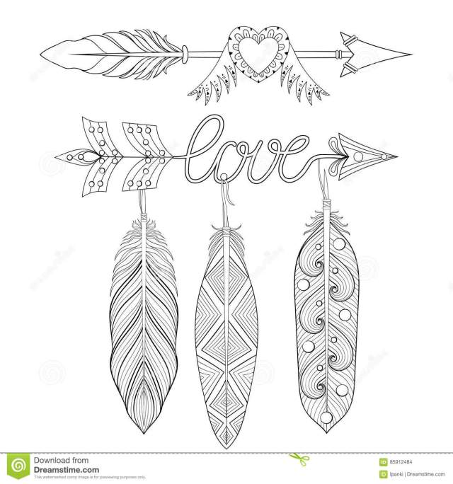 Bohemian Love Arrows Set With Feathers For Adult Coloring Pages