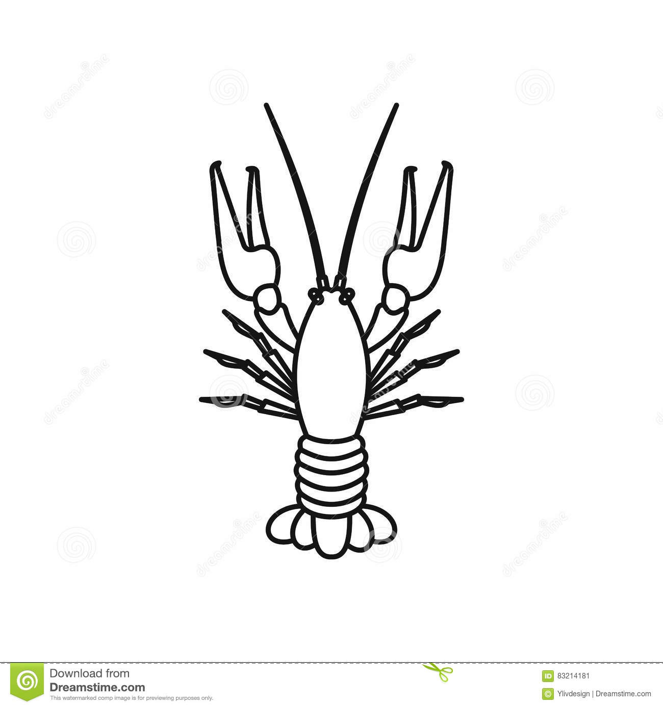 Crawfish Icon Flat Style Lobster Isolated On White