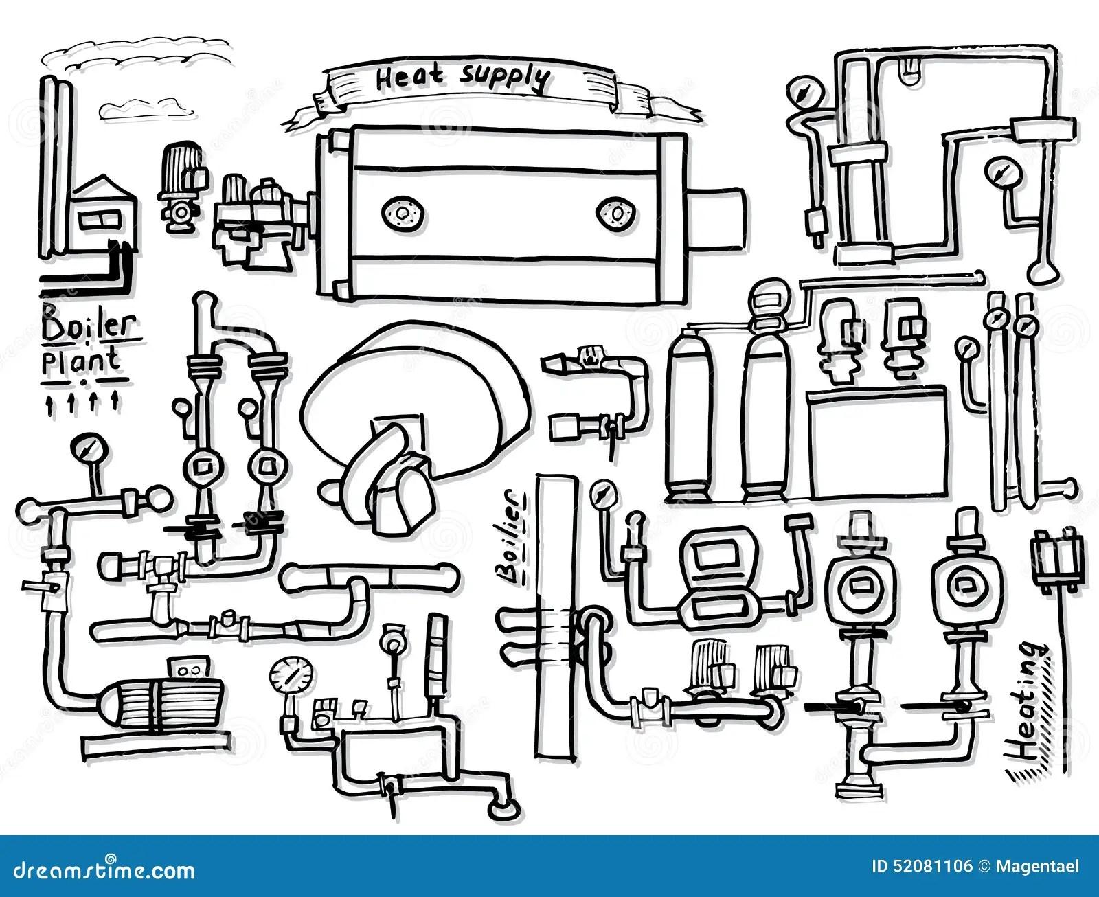 Boiler Room Equipment Engineering Systems Sketch Vector