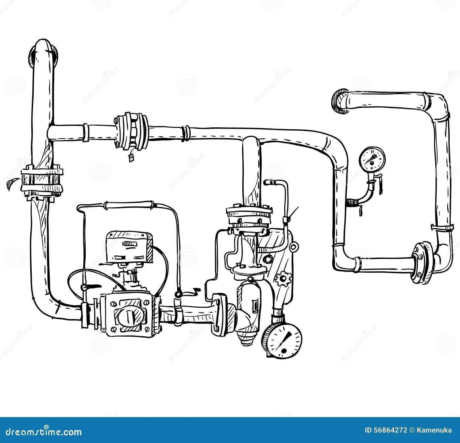 Boiler Room Pipes Vector Sketch Stock Vector