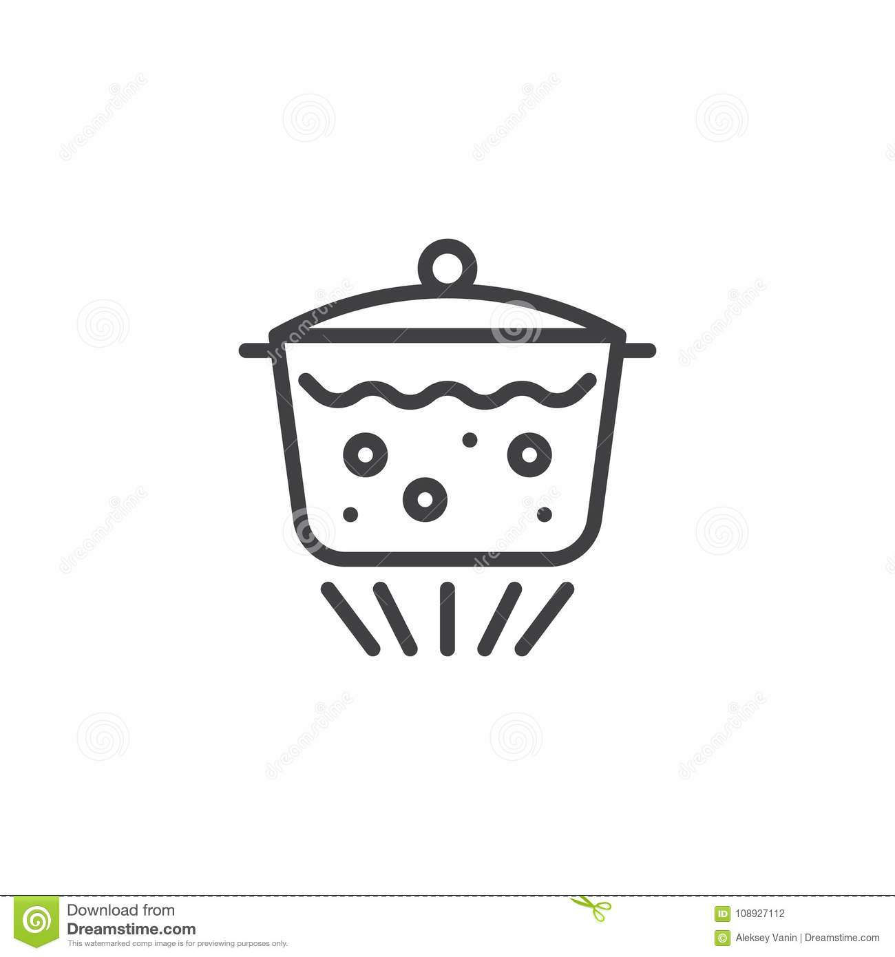 Pot Of Boiling Water On Fire Cooking Food Blue Cookware