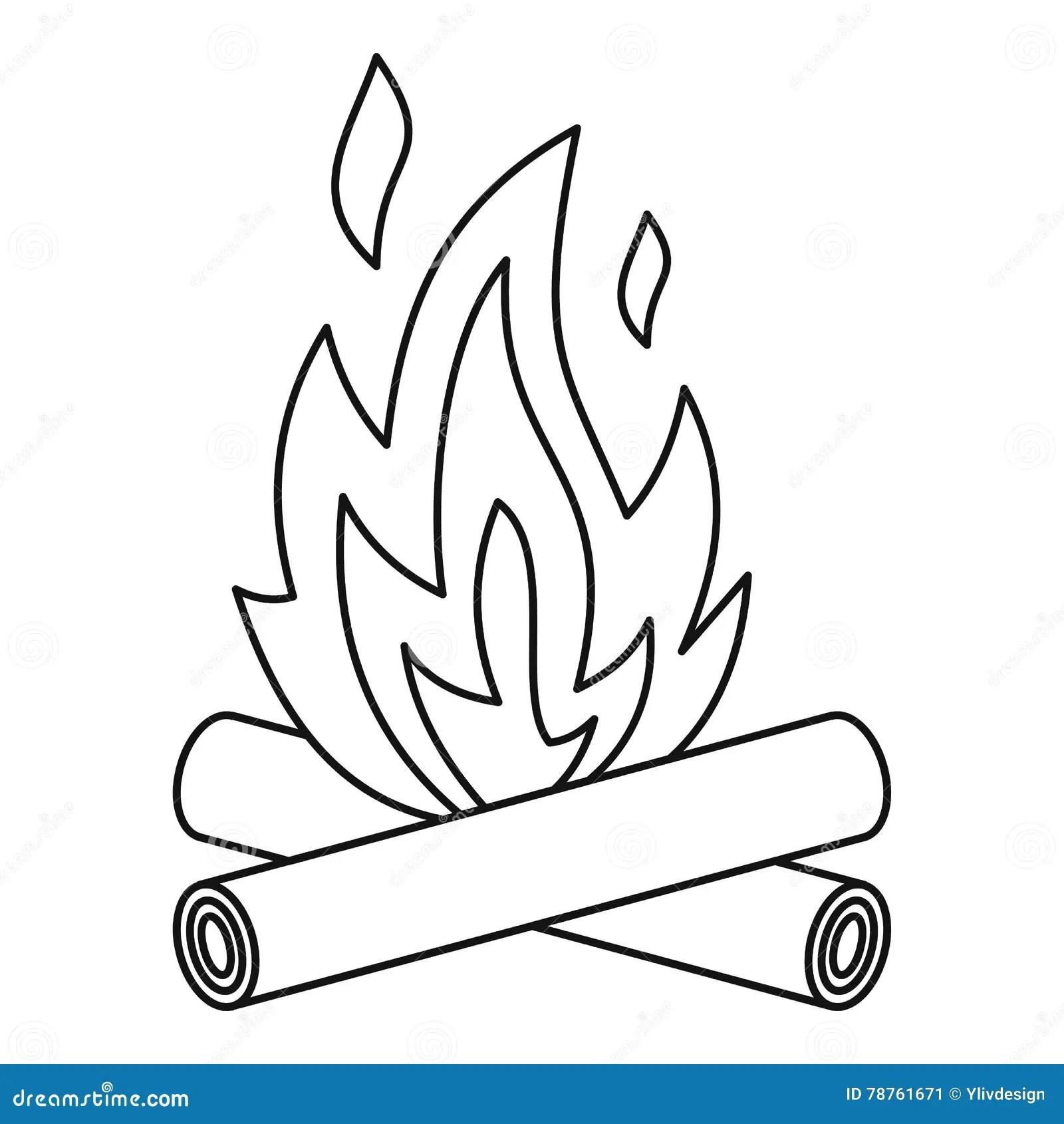 Bonfire Icon Outline Style Stock Vector