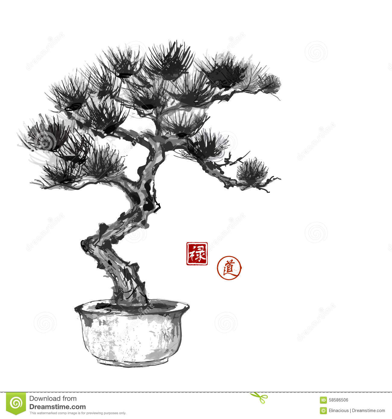 Ink Style Pine Tree Cartoon Vector