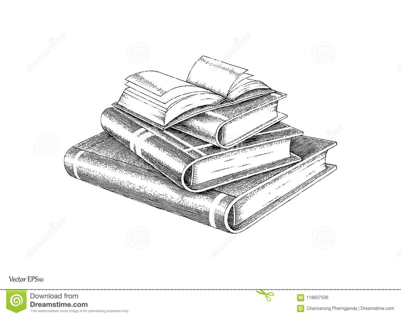 Books Stack Hand Drawing Vintage Style Black And White