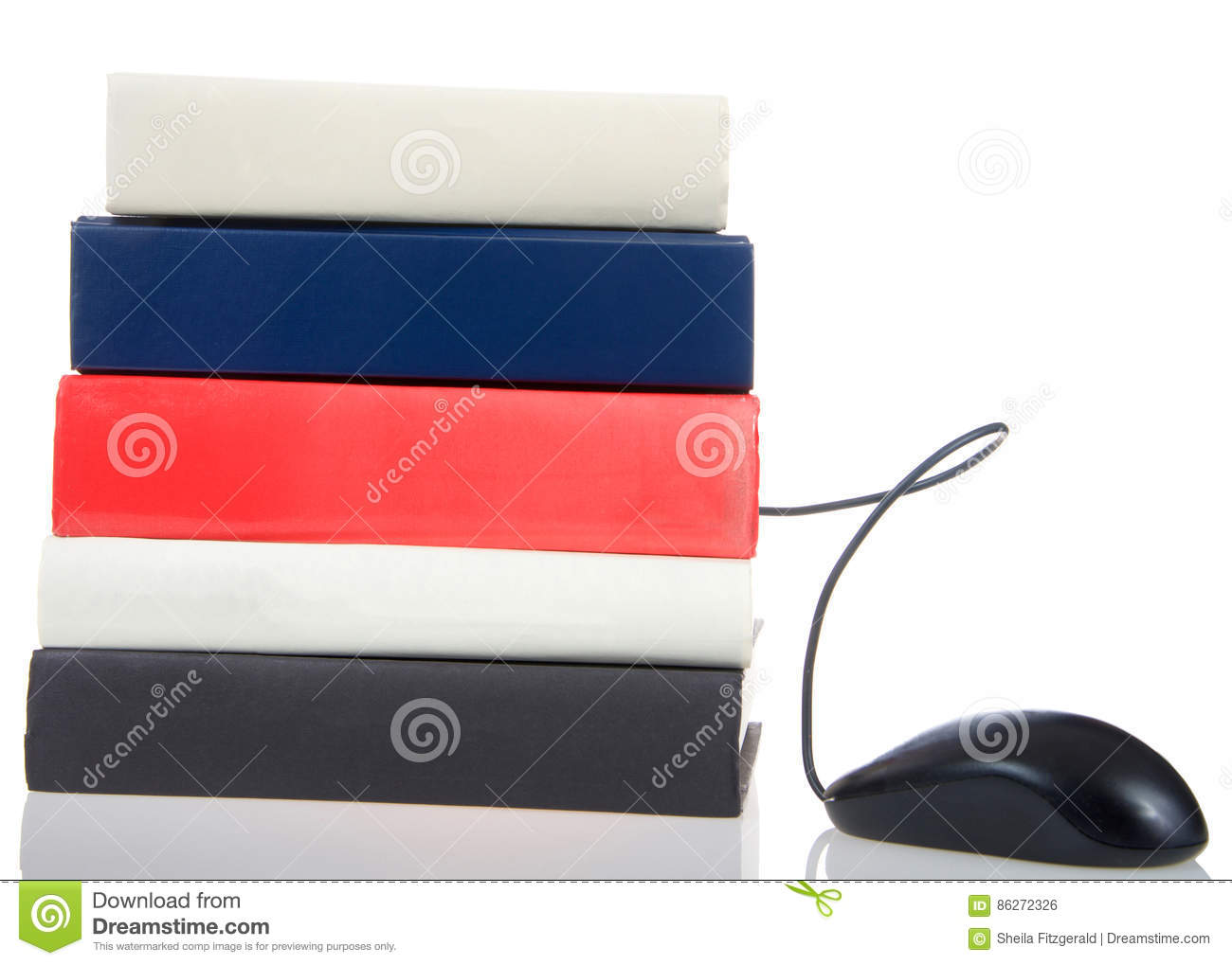 Books Stacked With Computer Mouse Coming Out Blank