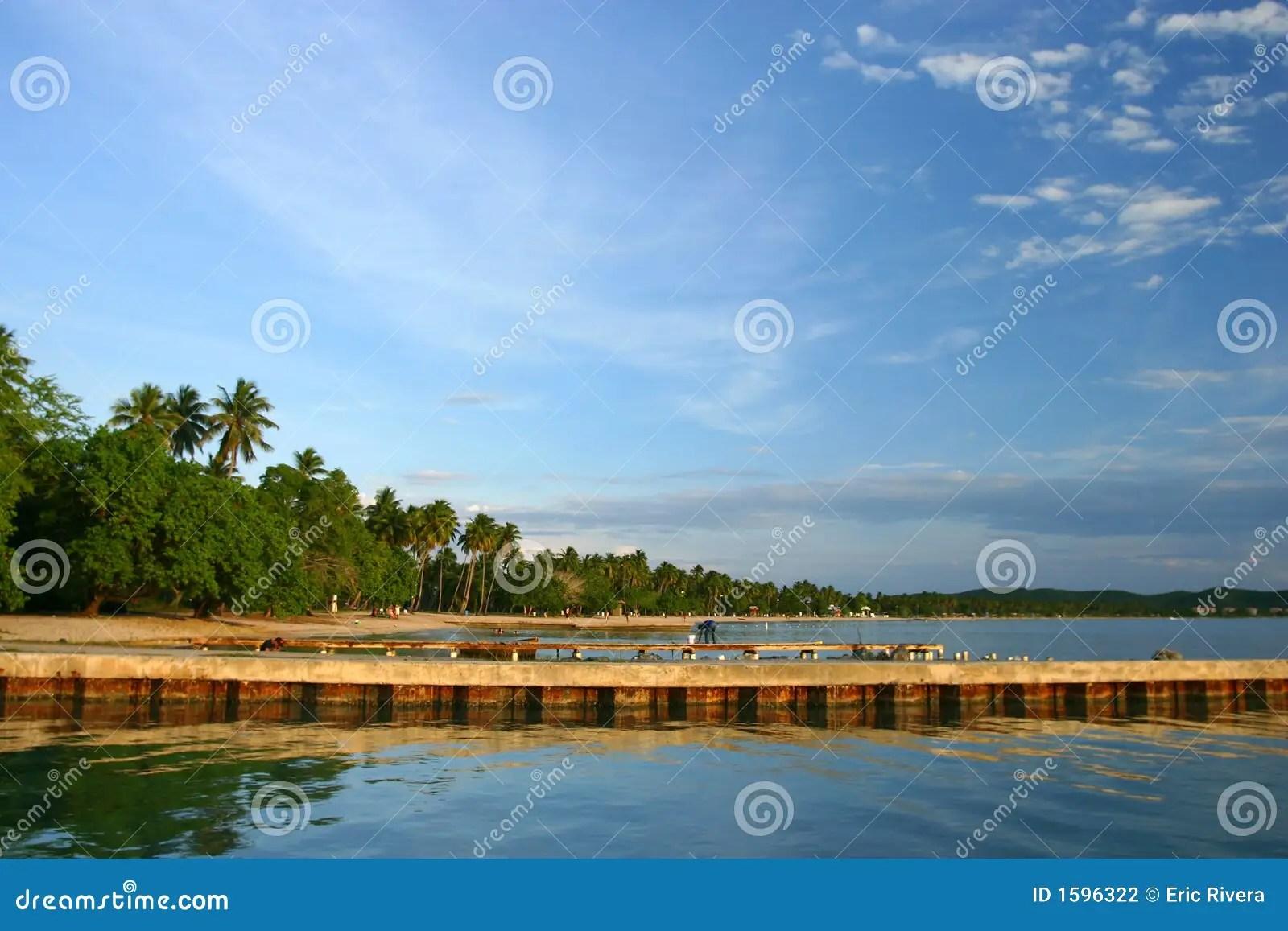 Boqueron Beach Pier At Puerto Rico Stock Photography