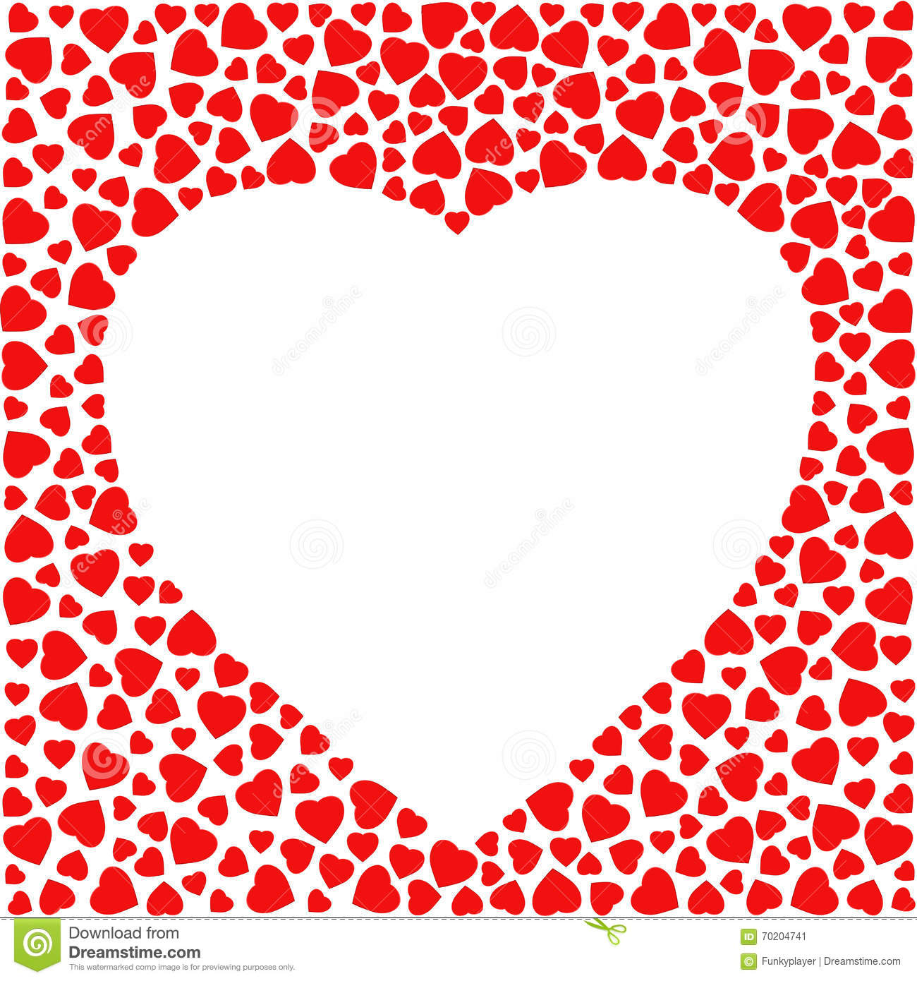 Border With Red Hearts Greeting Card Design Template