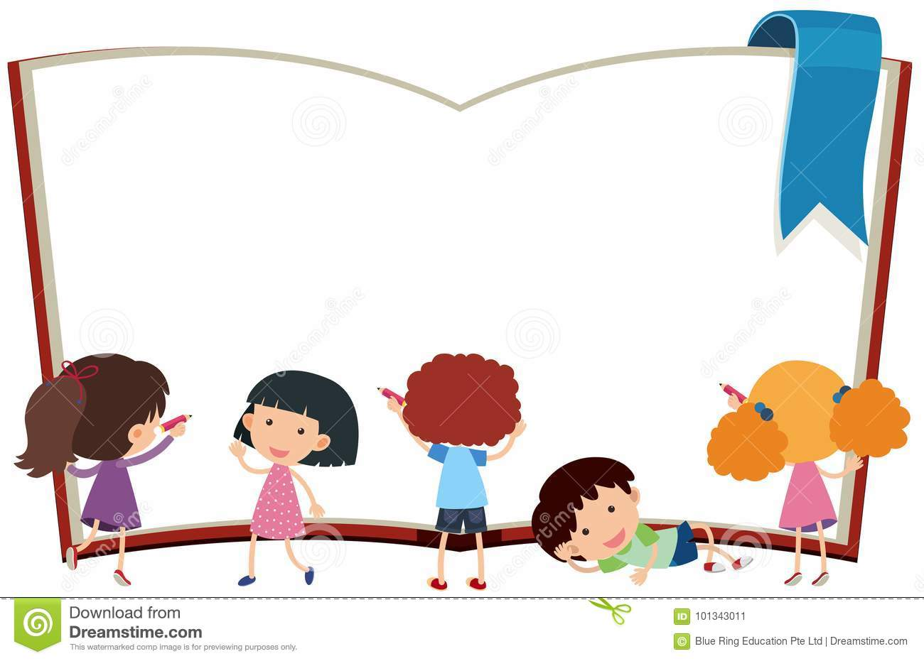 Border Template With Kids And Book Stock Vector