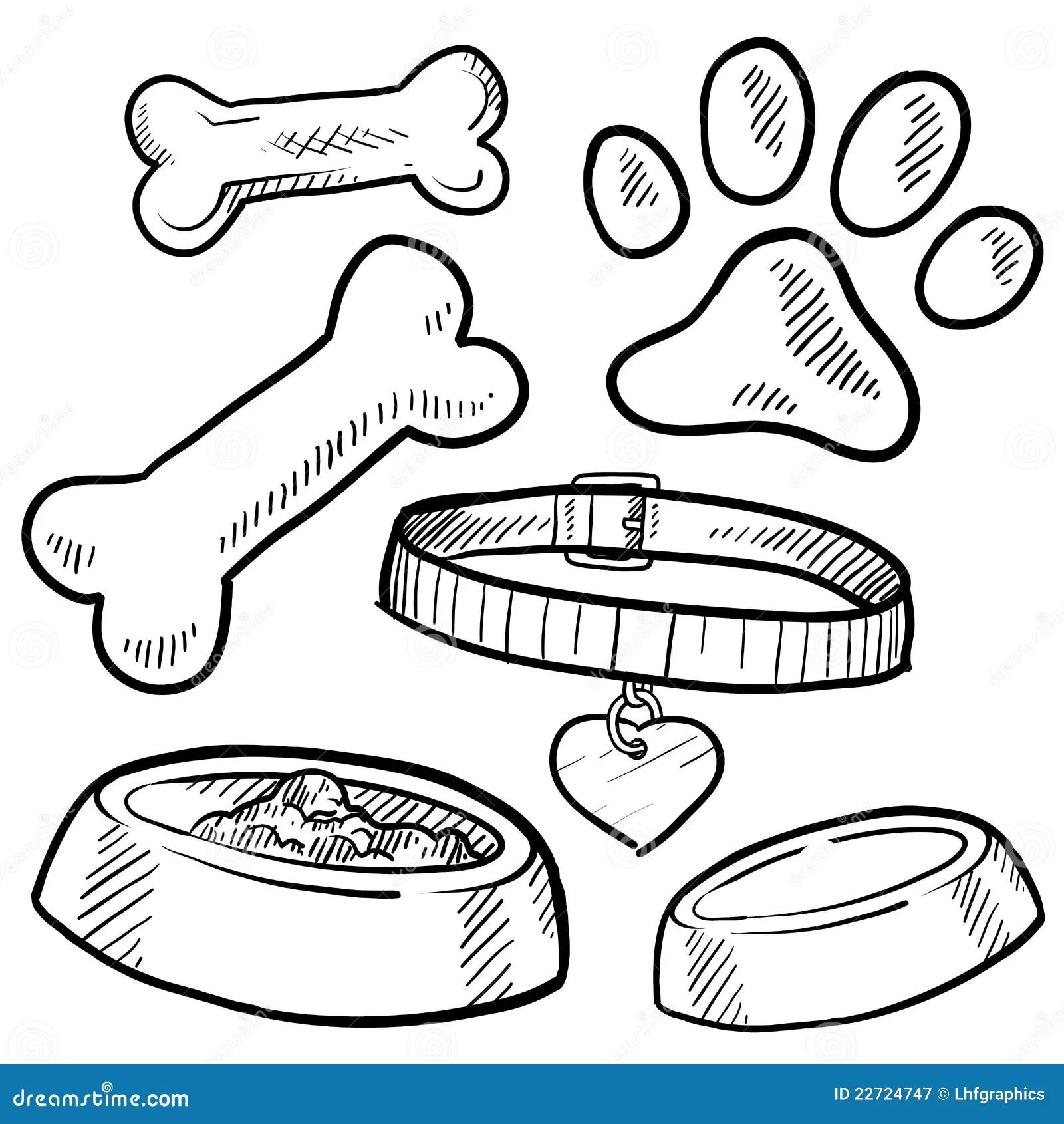 Bosquejo De Los Items Del Perro De Animal Domestico