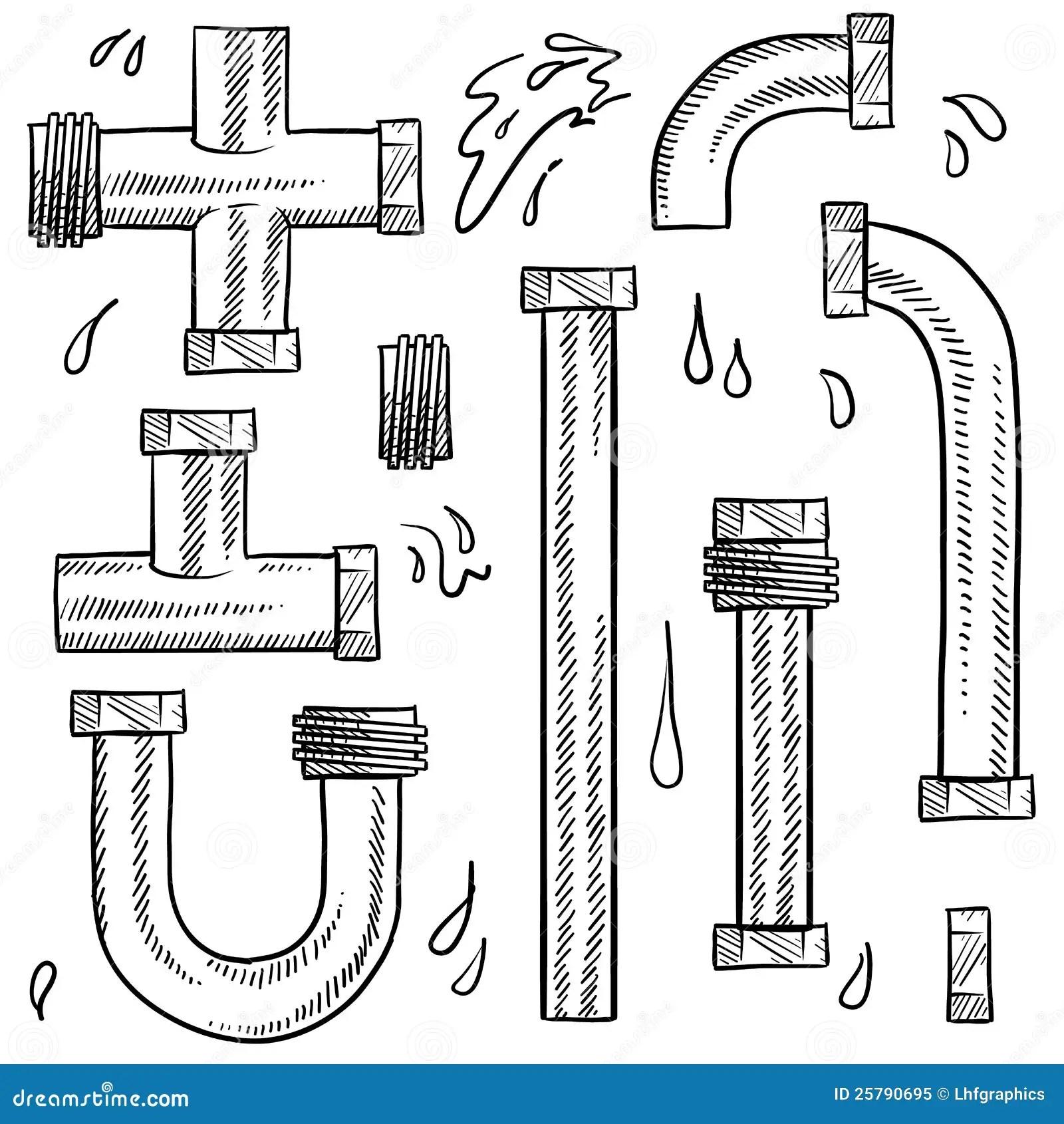 Bosquejo De Los Tubos De Agua Ilustracion Del Vector