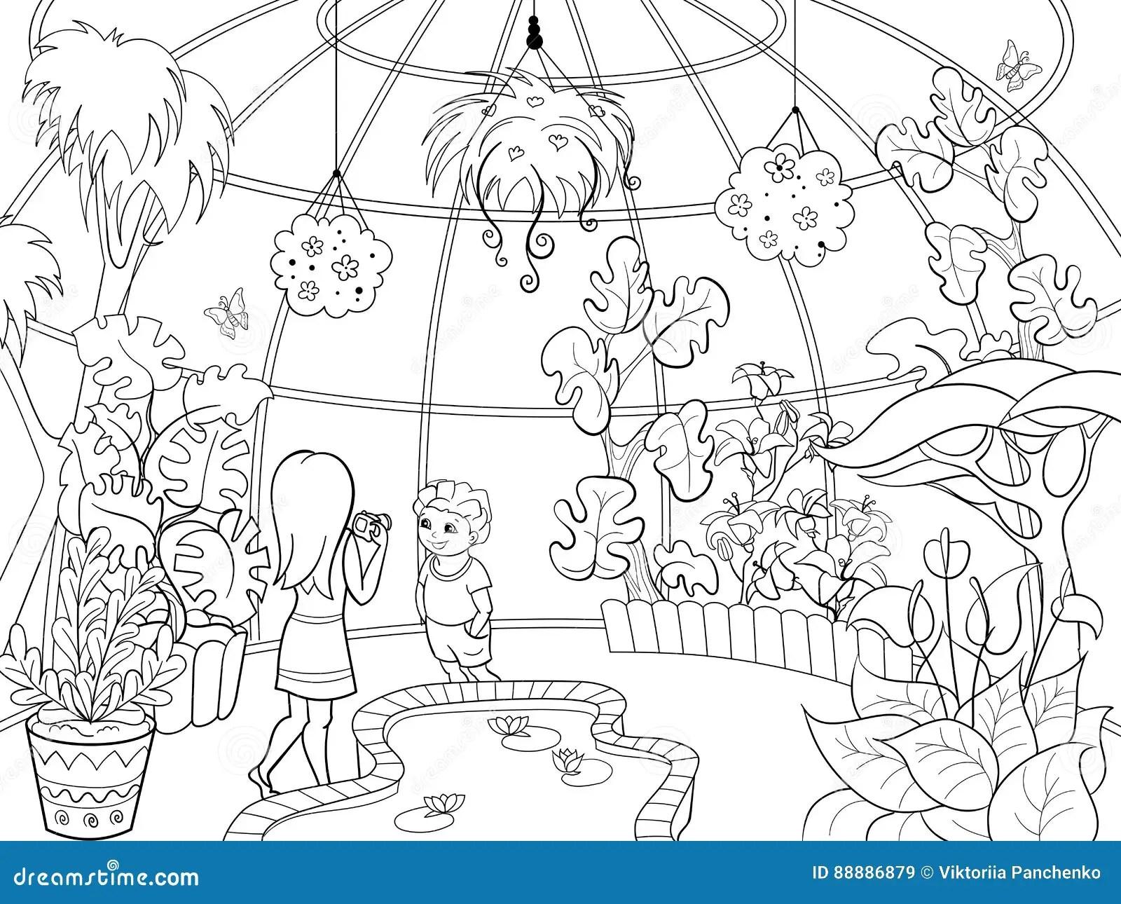 Botanical Garden Cartoon Vector Illustration Stock Vector