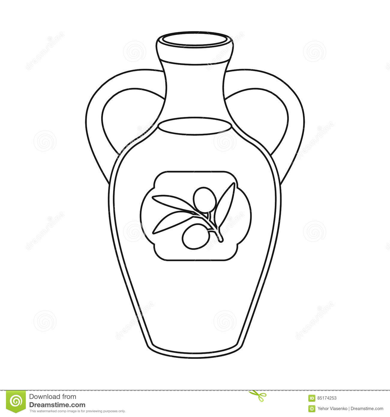 Bottle Of Olive Oil Icon In Outline Style Isolated On