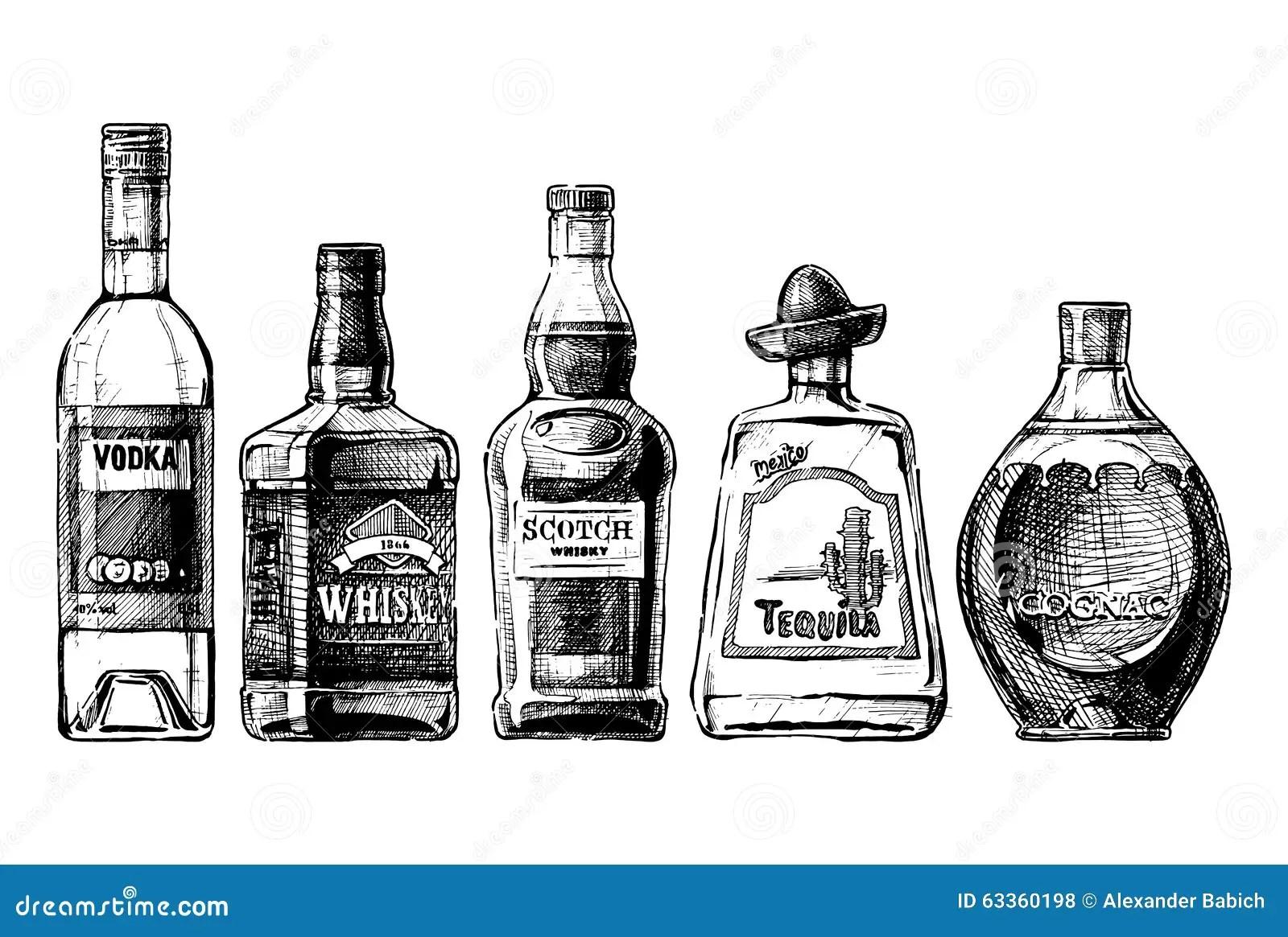 Bottles Of Alcohol Distilled Beverage Stock Vector
