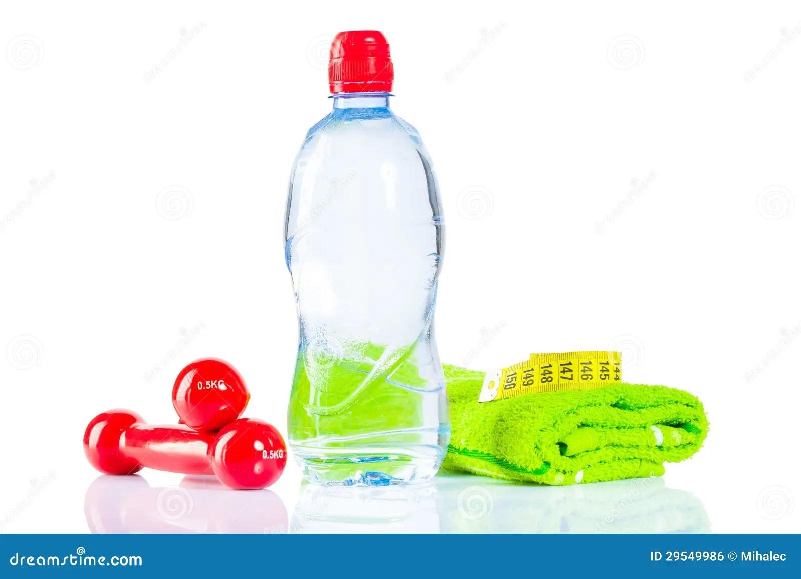 Bottles Dumbbells Towel Tape Royalty Free Stock Image